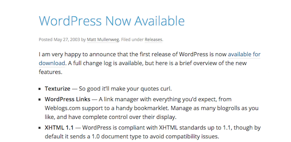 Wordpress announcement