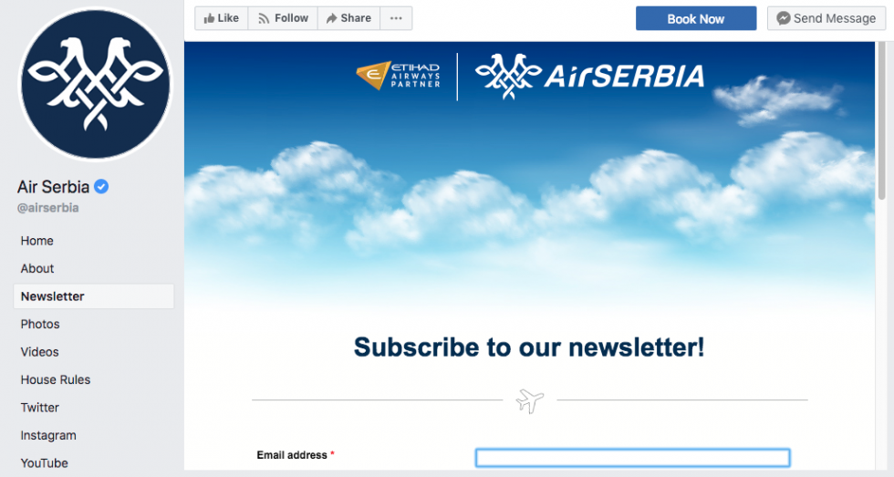 airserbia newsletter signup facebook