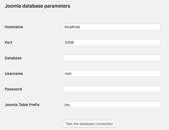 joomla database parameters