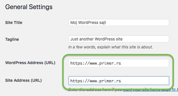 wordpress url setting